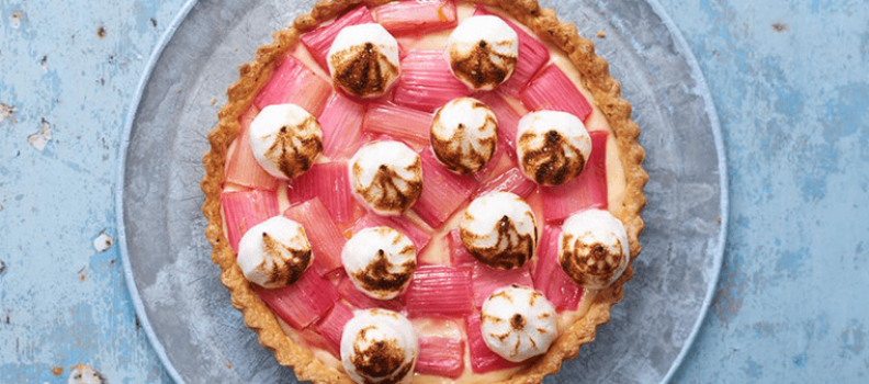 Rhubarb and Custard Meringue Tart